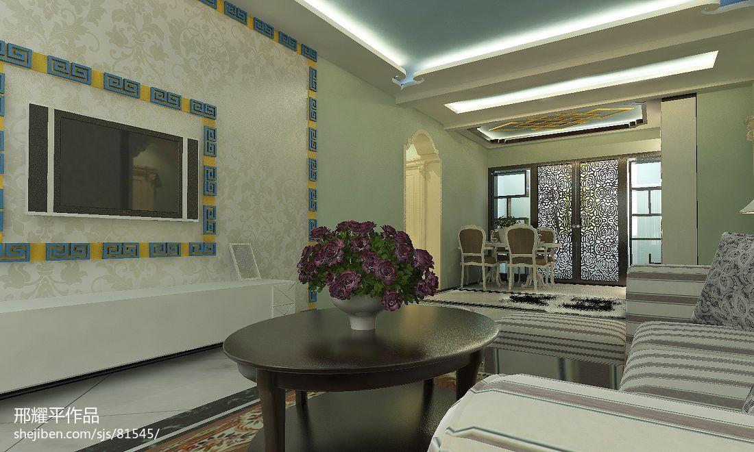 精美大小123平别墅客厅中式装修效果图片大全