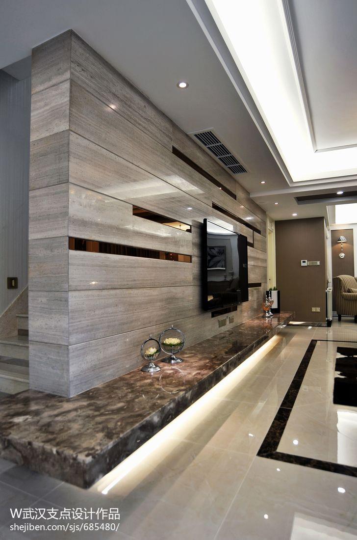現代客廳電視墻隔斷裝修效果圖片