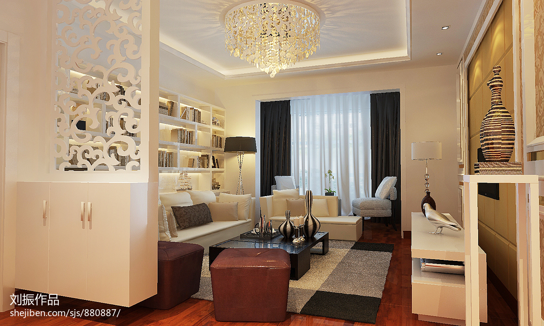 新古典二居客厅装修欣赏图片