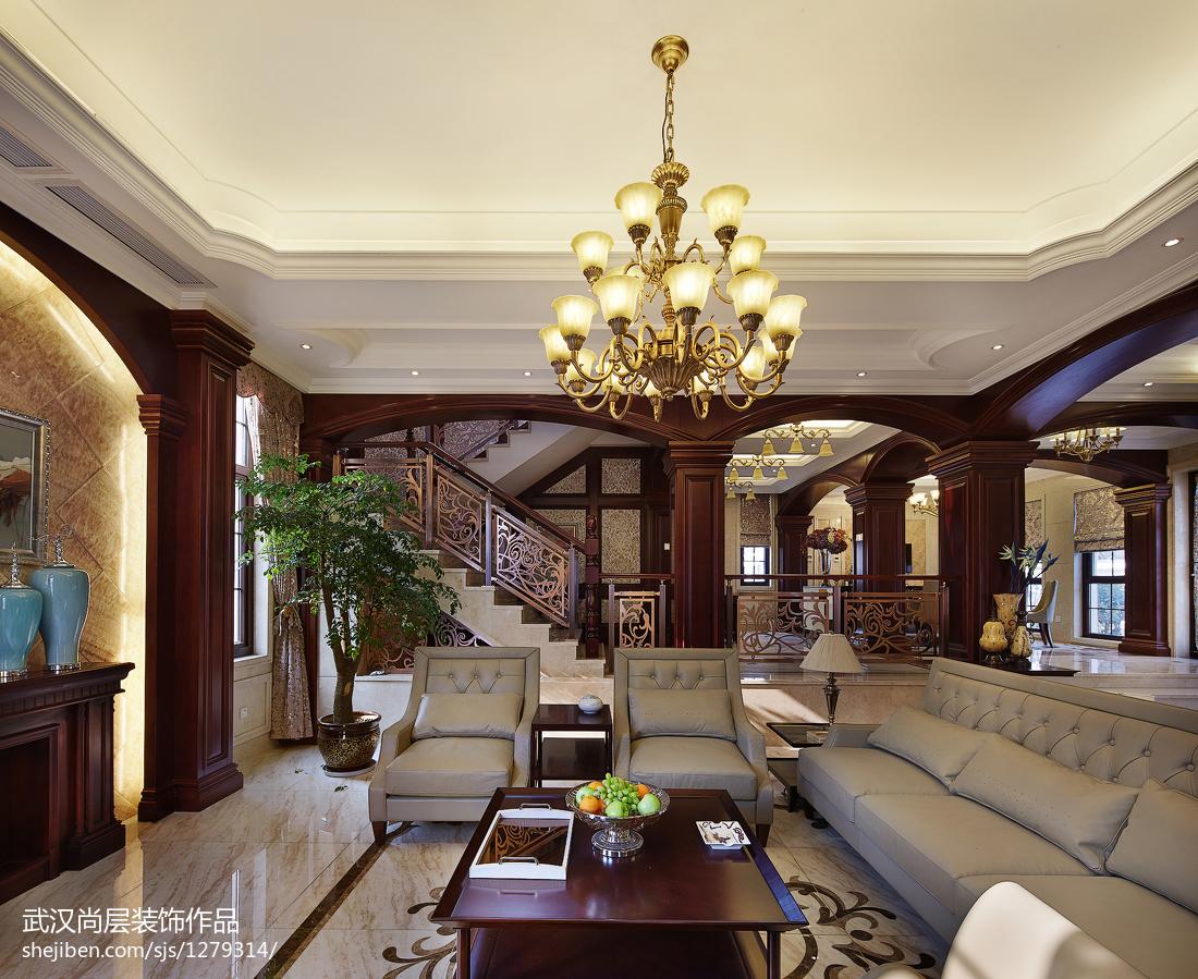 热门114平米中式别墅客厅欣赏图片