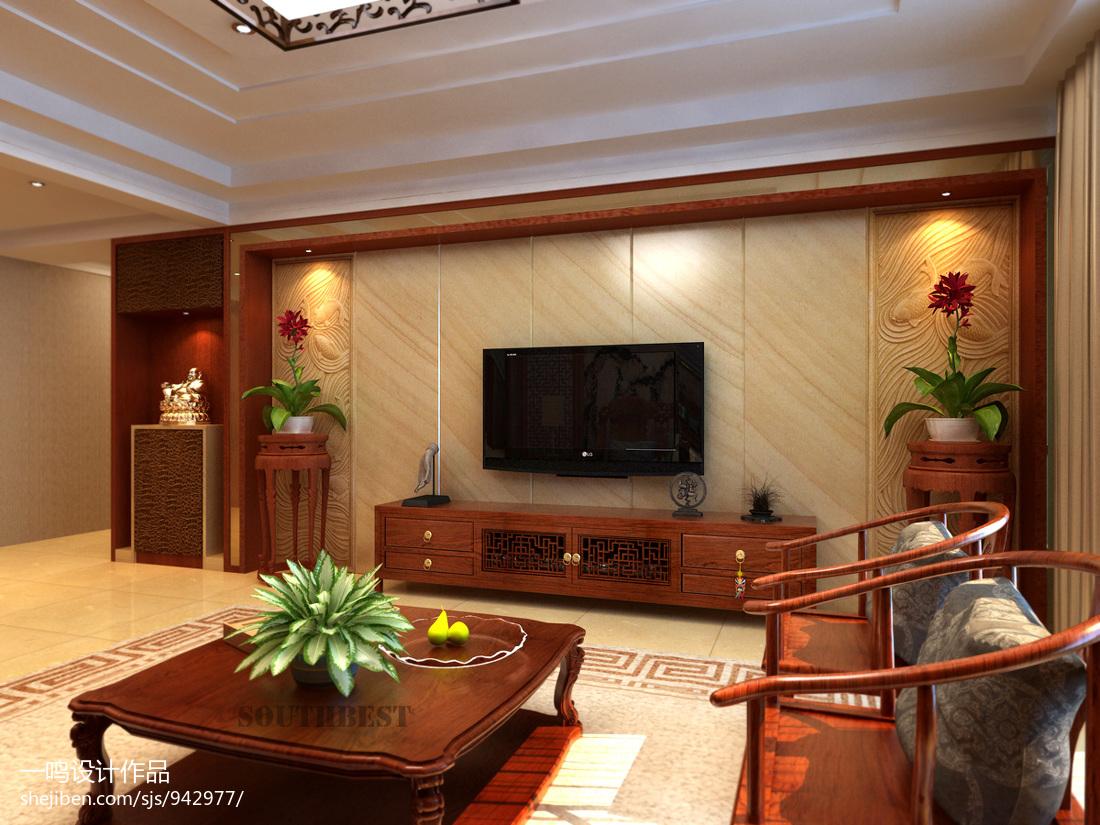 新中式锦茂电视背景墙装修效果图