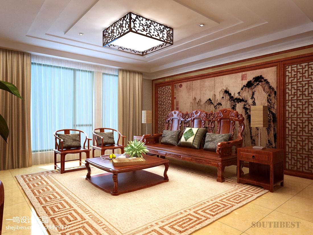 新中式客厅沙发背景装饰画装修效果图