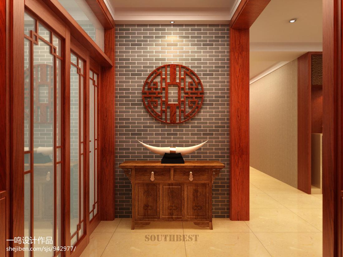 新中式锦茂中式玄关仿古砖背景墙设计效果图