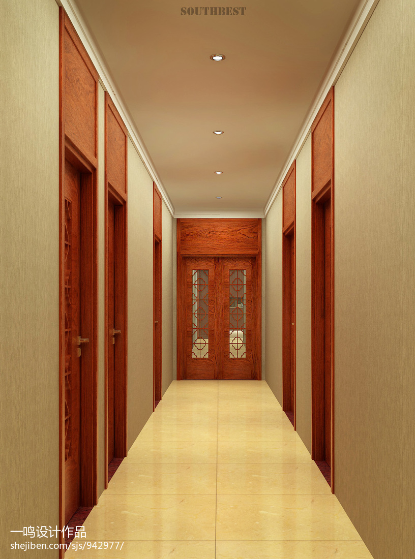 新中式房间过道吊顶装修设计效果图