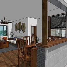 混搭风格餐厅厨房装修设计图片