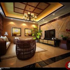 精美112平米东南亚别墅客厅装饰图片大全