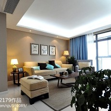 2018大小107平现代三居客厅设计效果图