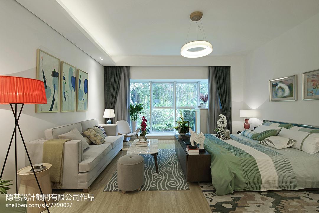 現代風格樣板間臥室背景墻裝修效果圖