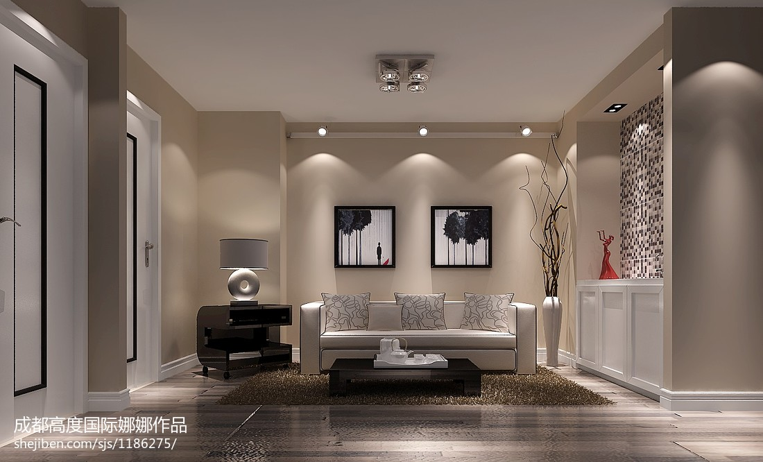 现代日式风格客厅隔断图片