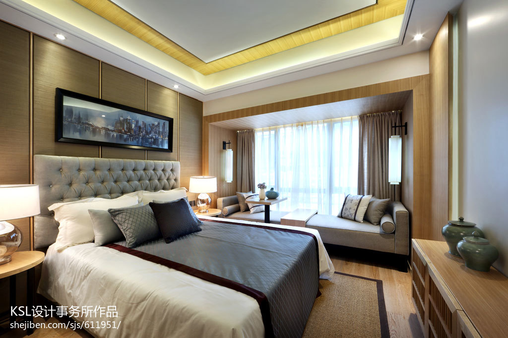 中式樣板房設計臥室背景墻裝修圖片