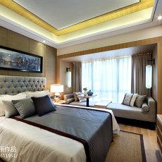 中式样板房设计卧室背景墙装修图片