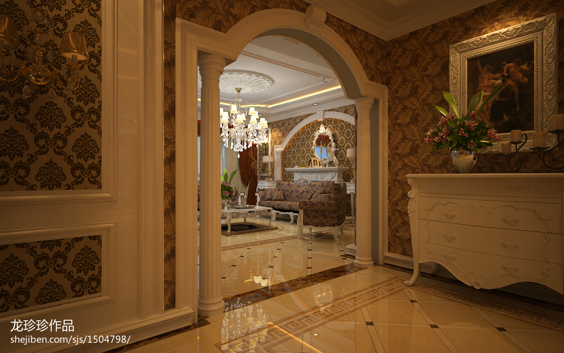 精美面积107平欧式三居客厅效果图片欣赏