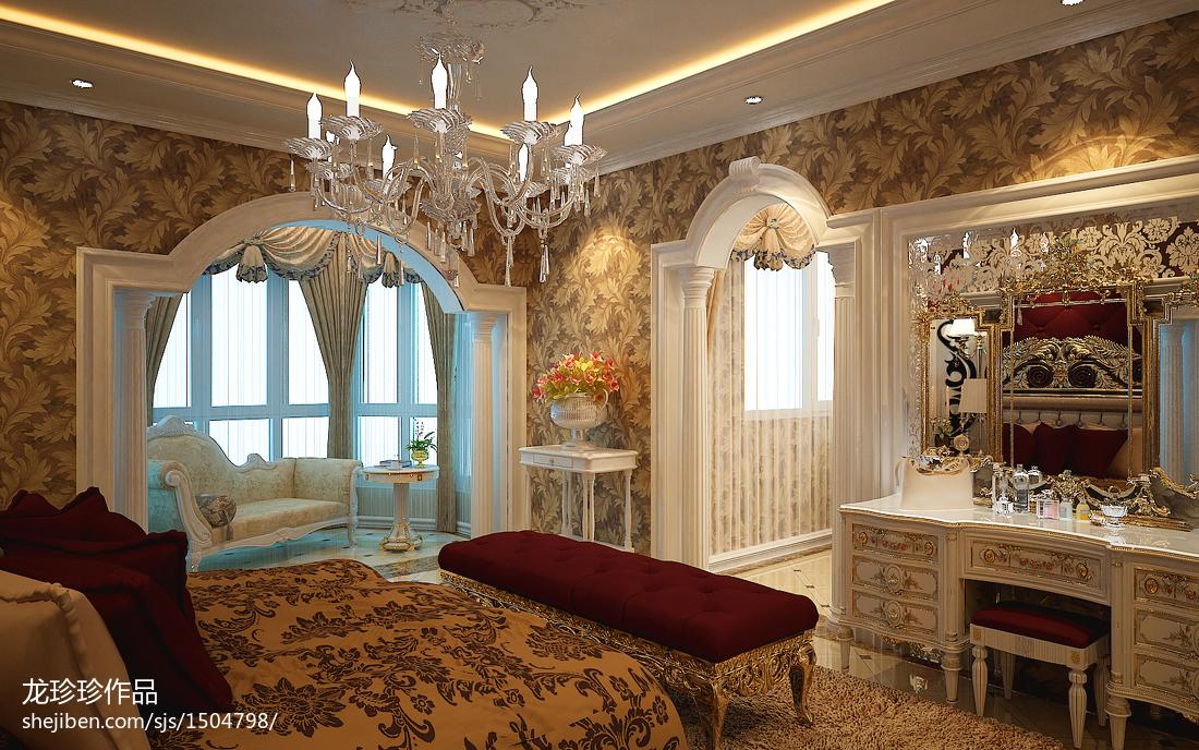 欧式卧室罗马柱交换空间装修效果图欣赏