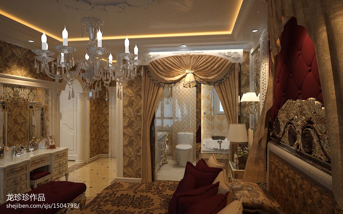 欧式卧室吊顶壁纸罗马帘交换空间装修效果图欣赏