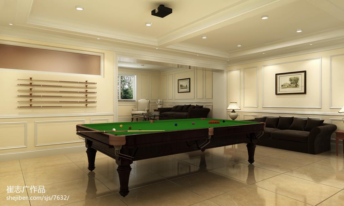 混搭风格别墅地下室台球厅装修效果图大全