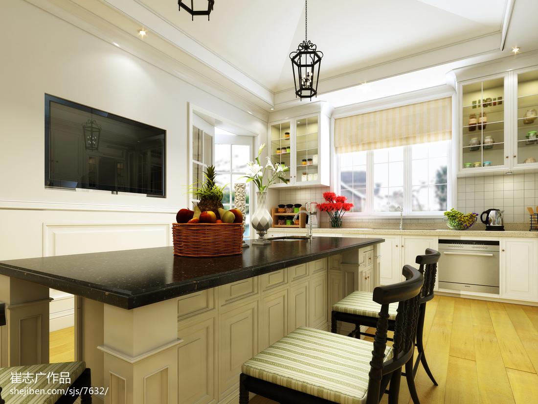 欧式别墅整体厨房台面装修效果图