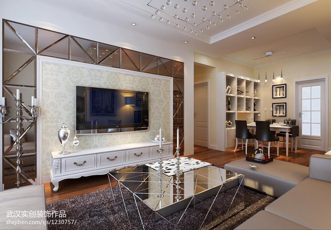 精美面积70平欧式二居客厅实景图片
