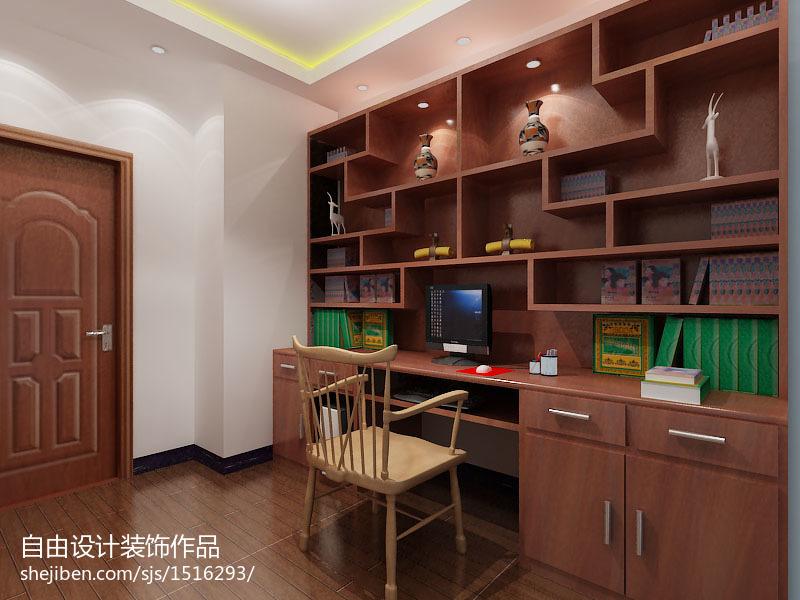 精选102平米三居书房中式装修欣赏图片大全