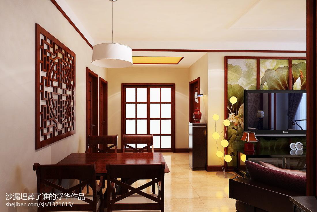热门面积77平中式二居客厅装饰图片欣赏