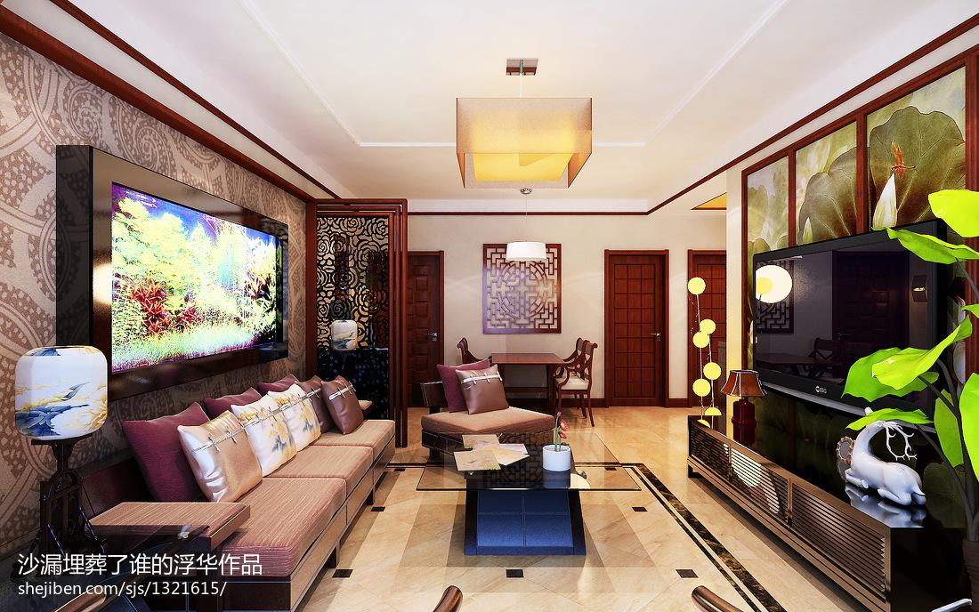 2018精选85平米二居客厅中式欣赏图