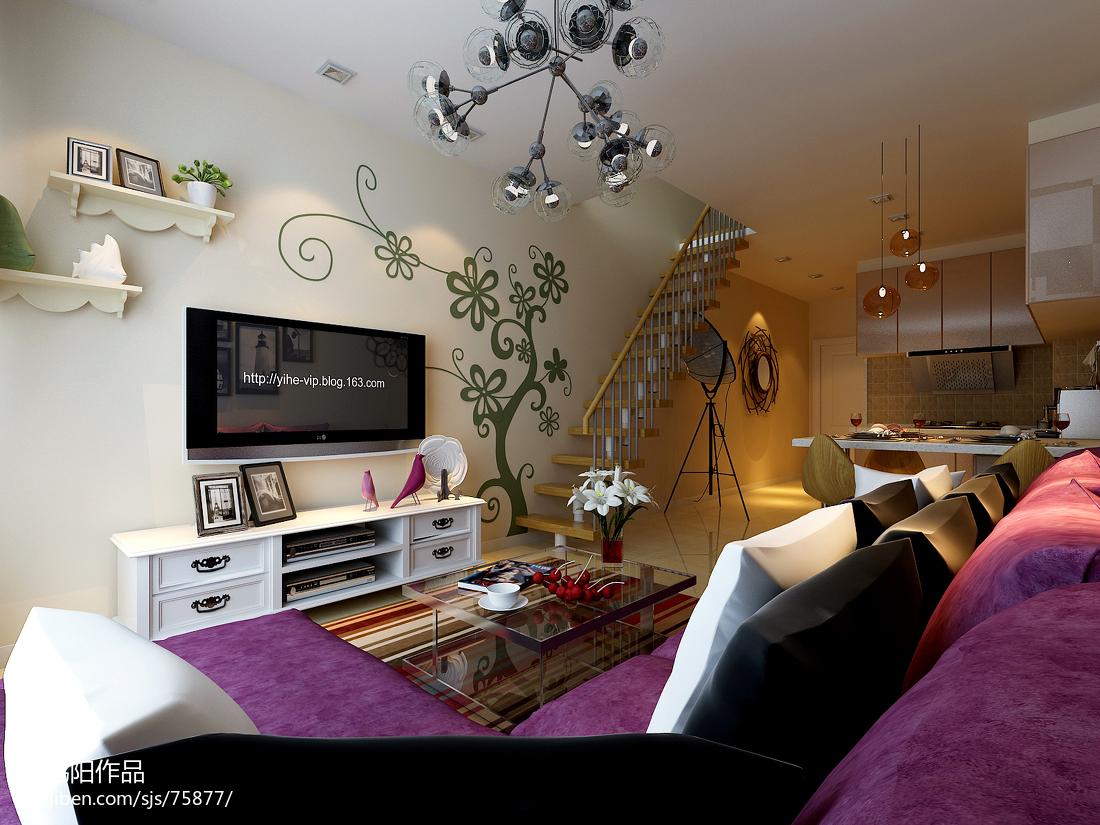 现代简约风格小户型客厅电视柜装修效果图大全