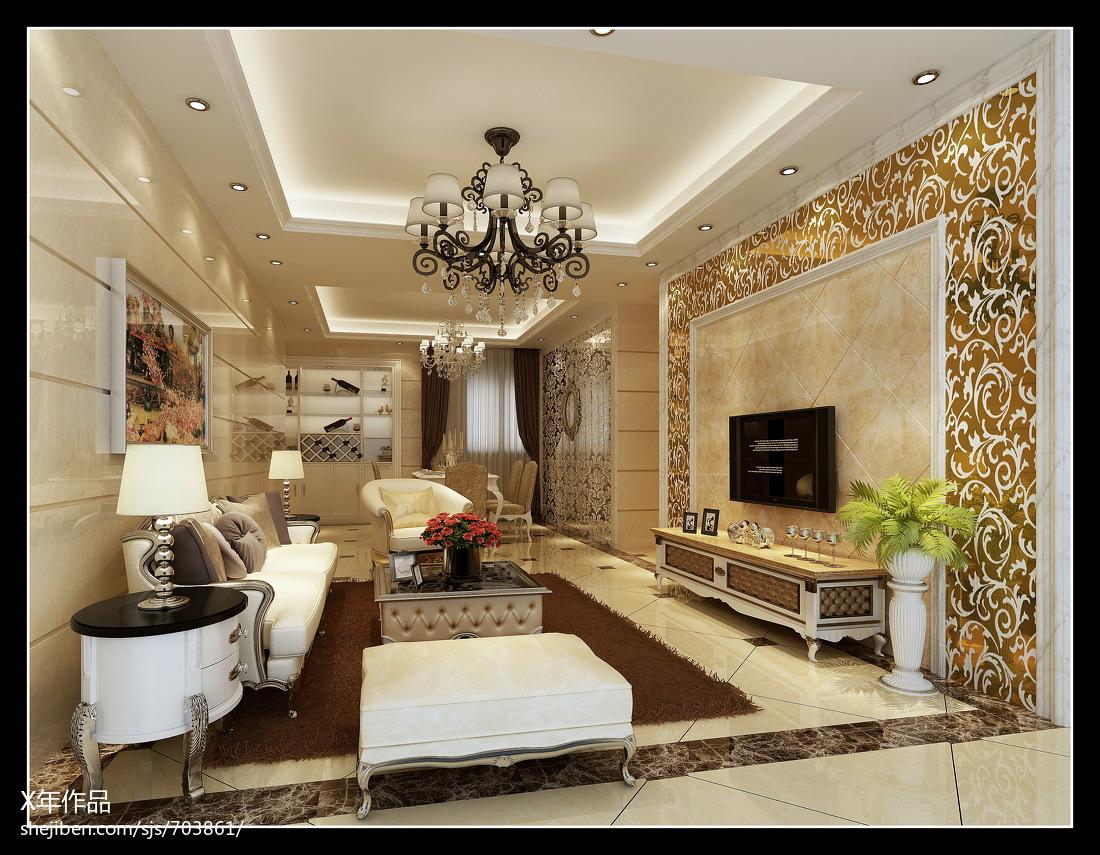 精美97平米三居客厅欧式装修效果图