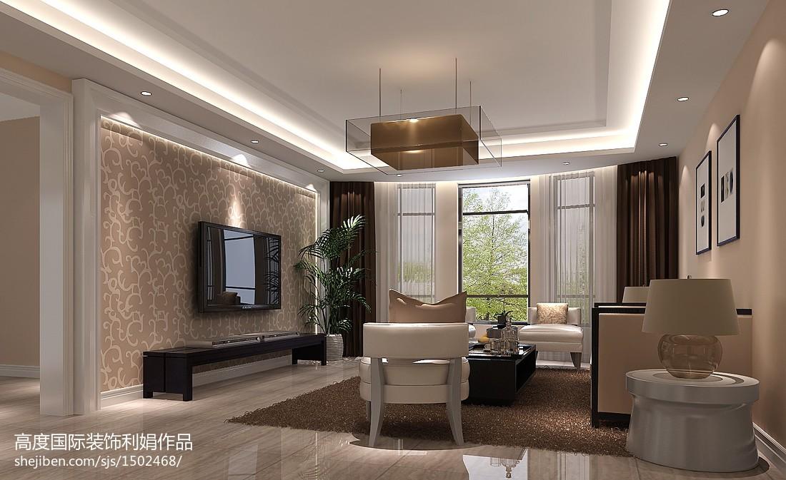 面积98平中式三居客厅效果图片欣赏