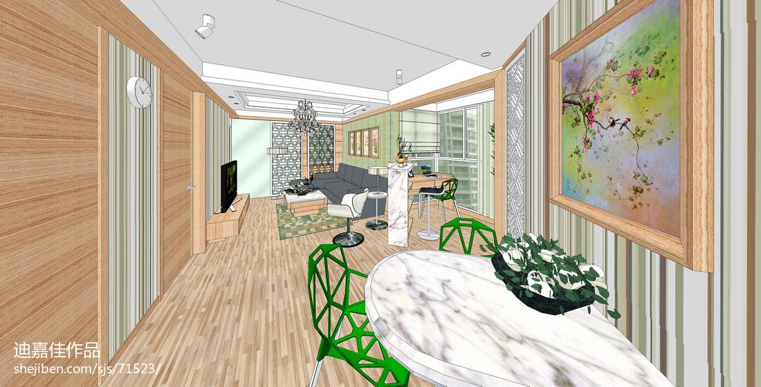 美式风格一居室过道室内装修图片