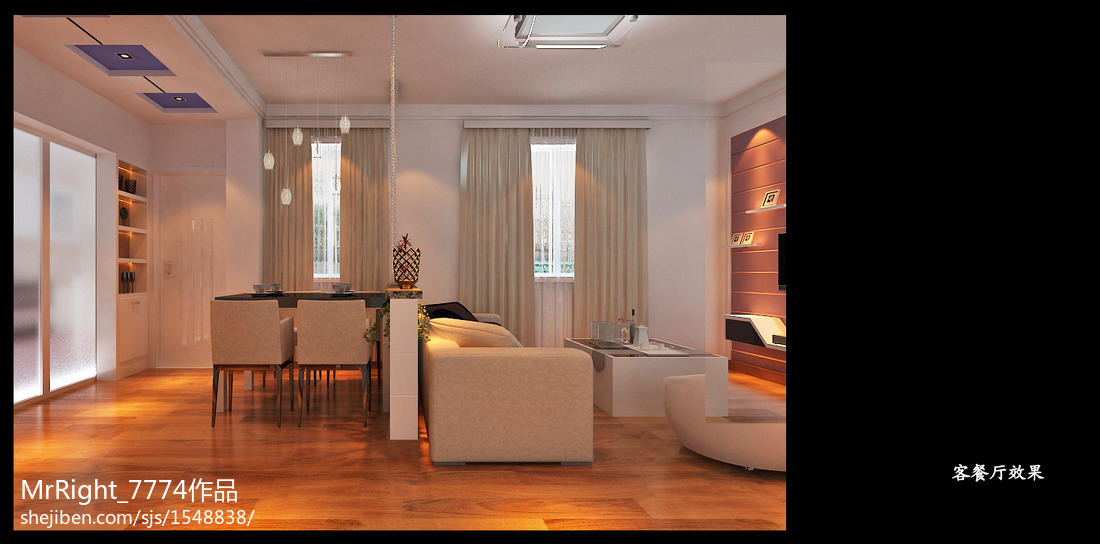 现代木质背景墙装修展示