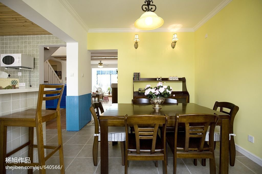精选面积124平复式餐厅地中海装修效果图片