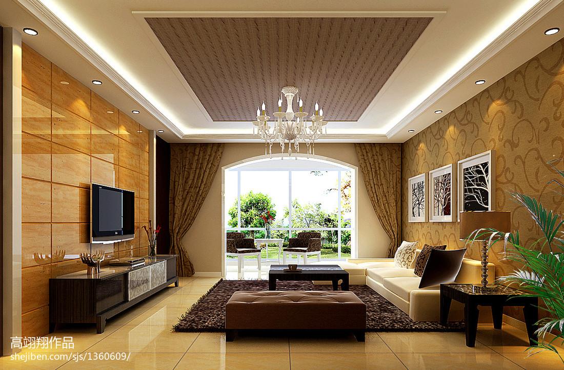 2018104平米三居客厅欧式设计效果图