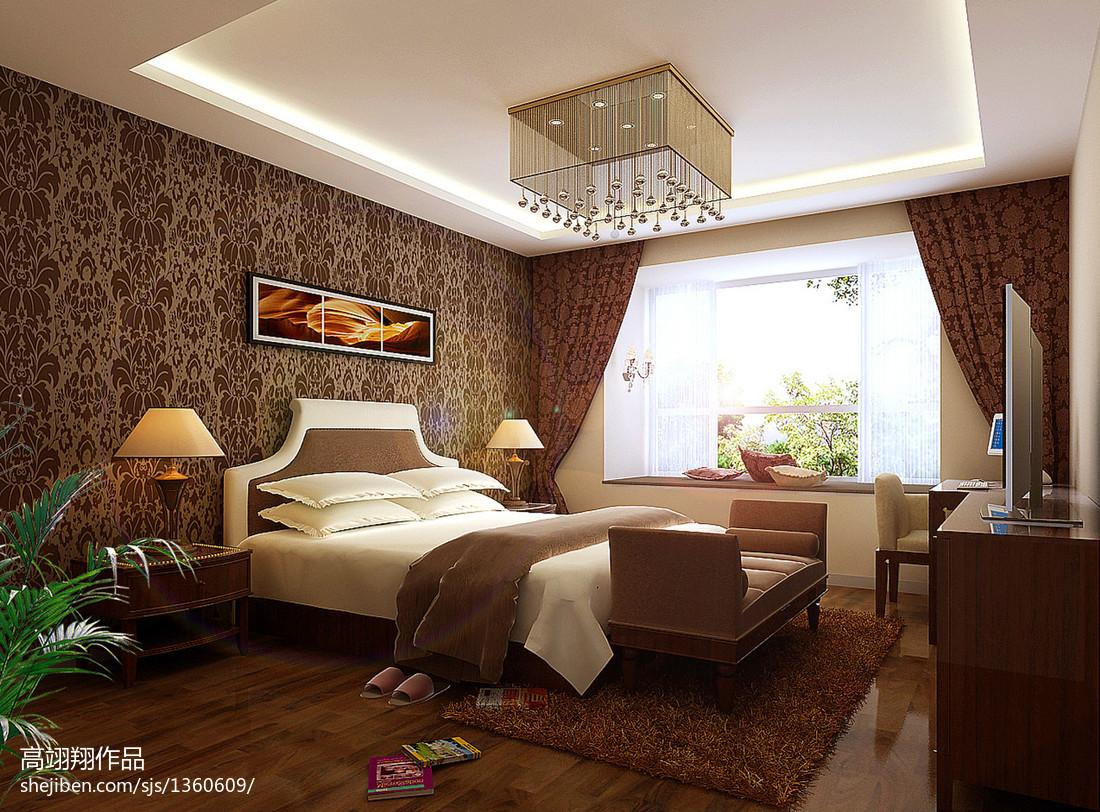2018精选96平米三居卧室欧式装修设计效果图片