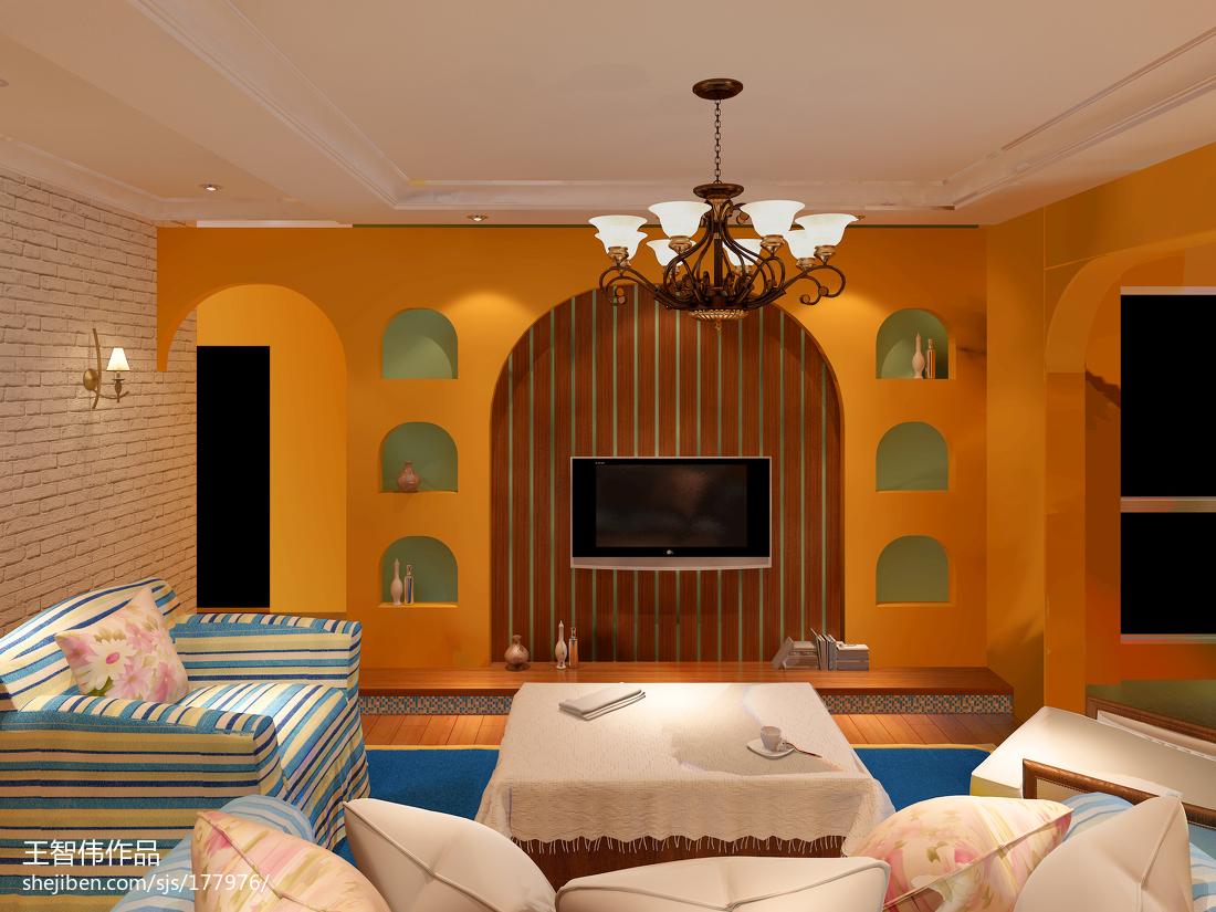 精美美式二居客厅装修设计效果图