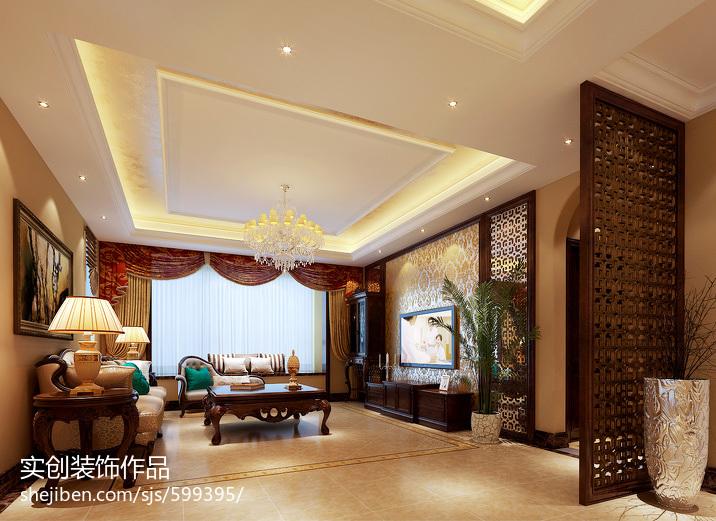 面积126平欧式四居客厅效果图片欣赏