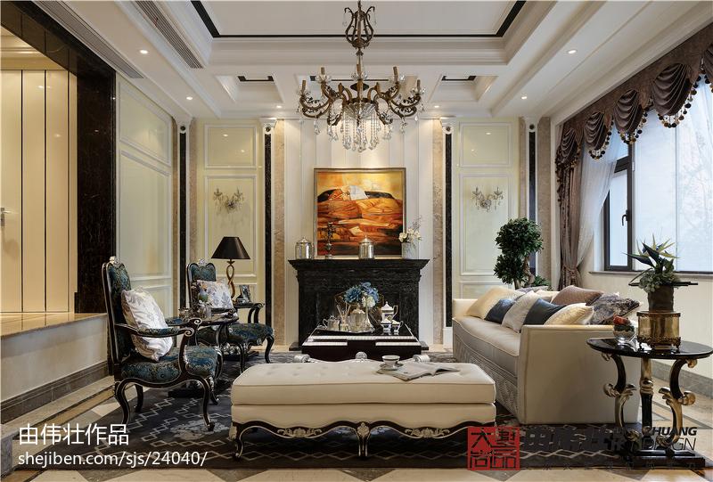 热门面积113平别墅客厅欧式效果图片大全