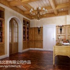 2018124平米东南亚别墅书房装修设计效果图