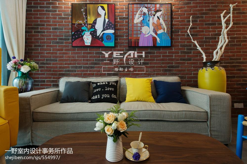 2018精选81平方二居客厅混搭实景图