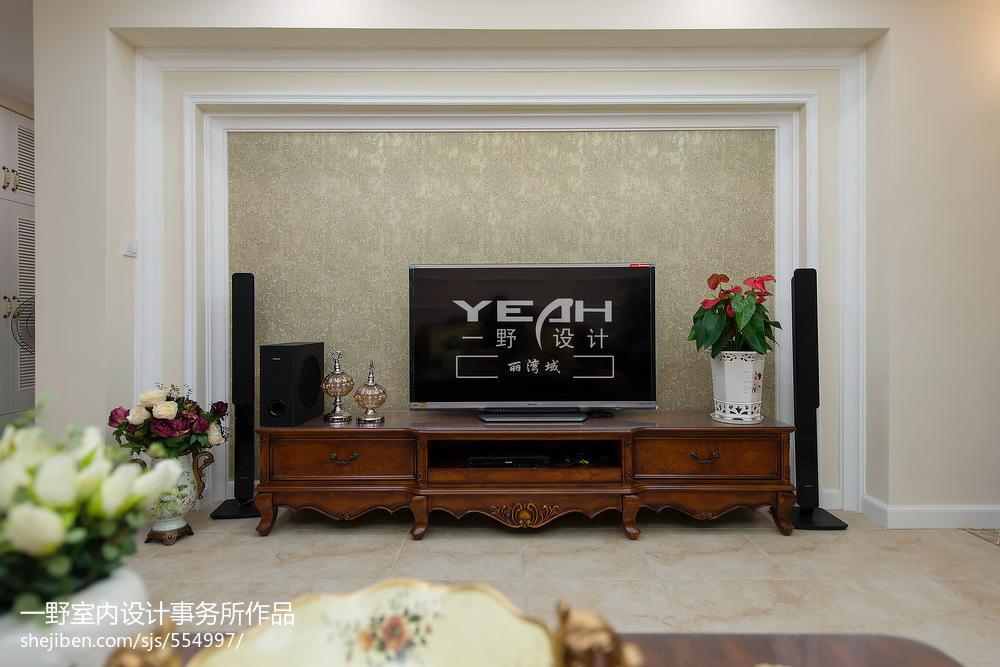 歐式風格別墅客廳電視背景墻裝修圖片