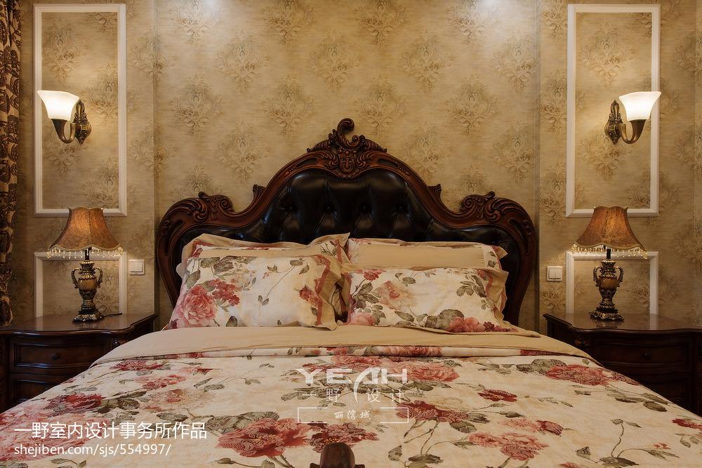 歐式風格別墅臥室背景墻裝修圖