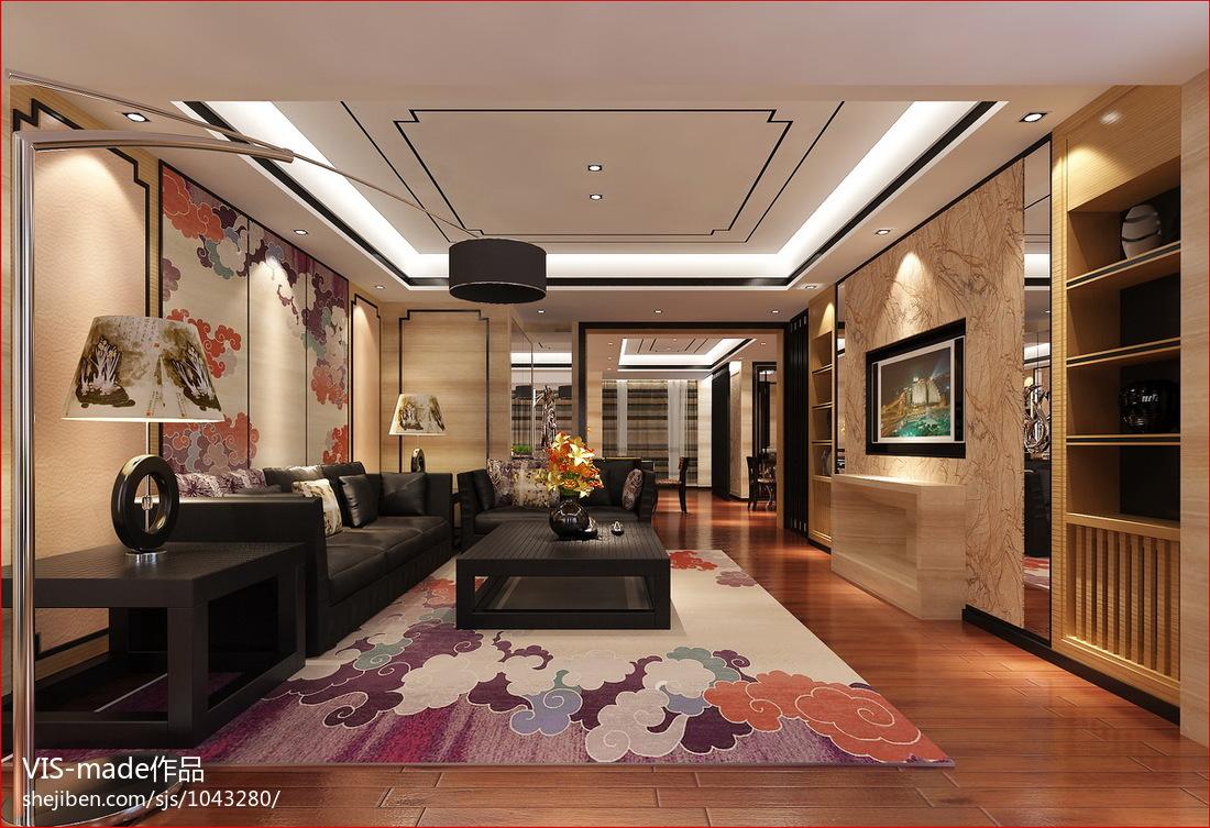 热门大小96平现代三居客厅装修图