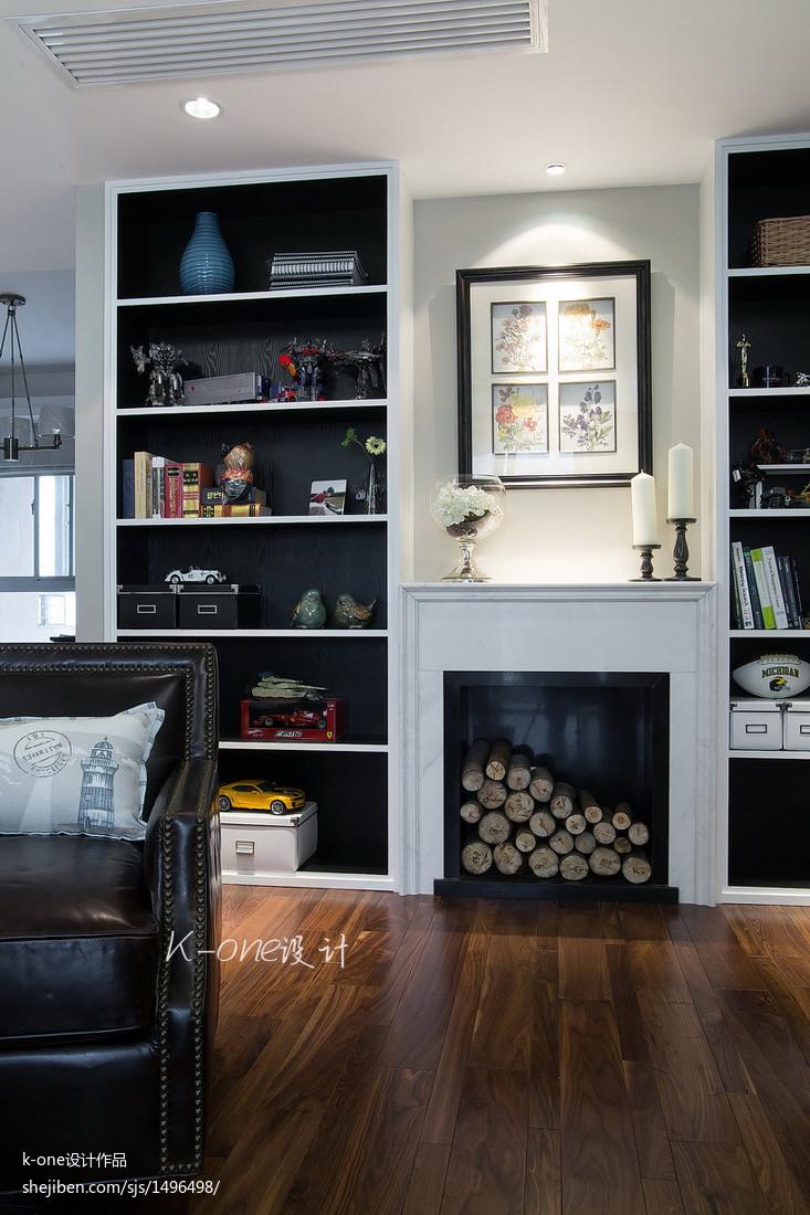 热门大小104平美式三居客厅装修效果图片欣赏