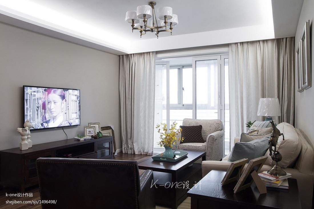 美式简约风格2017客厅电视墙图片