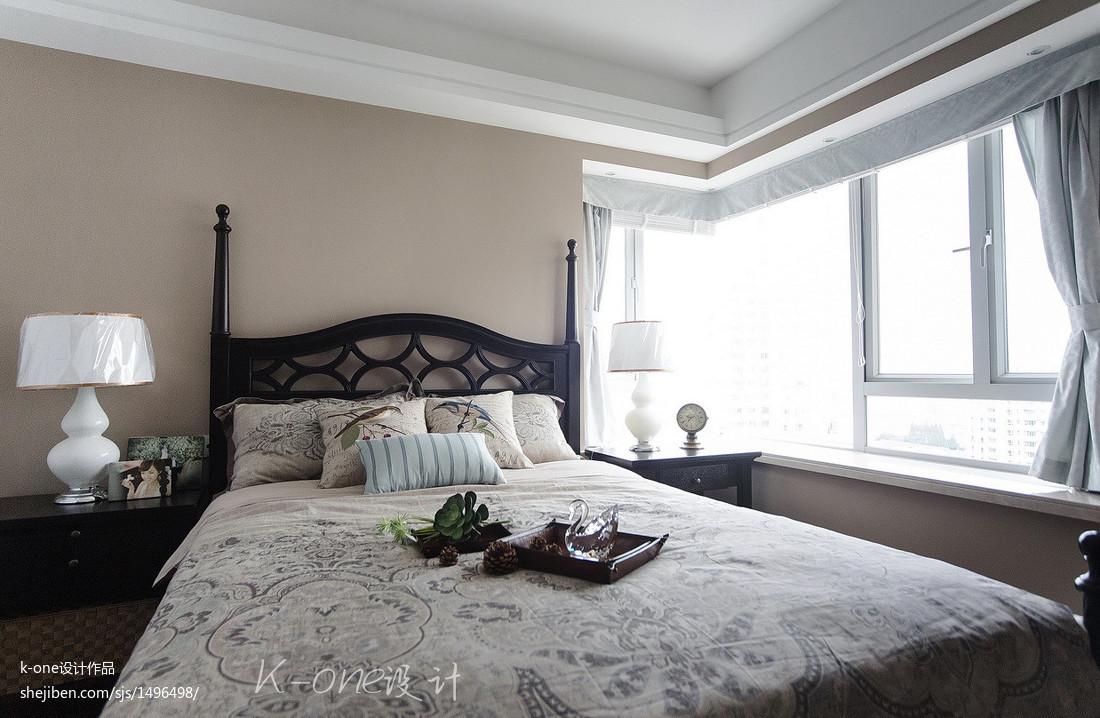 美式三居室臥室飄窗裝修效果圖大全2017圖片
