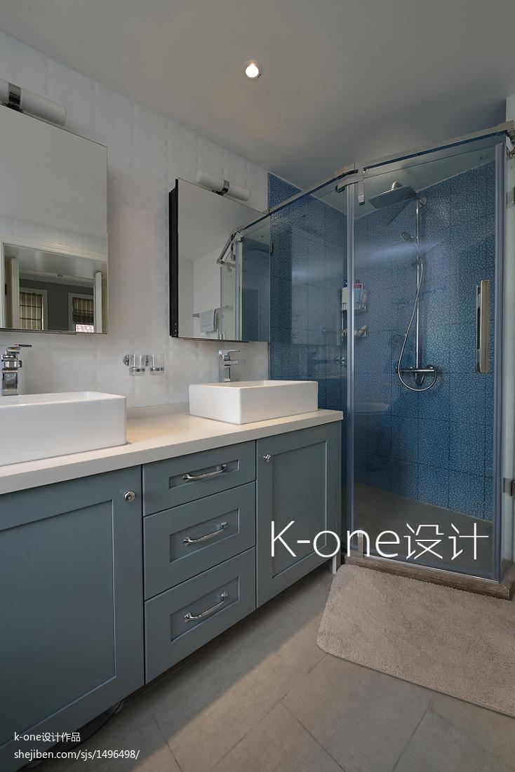 优美906平美式别墅卫生间实拍图