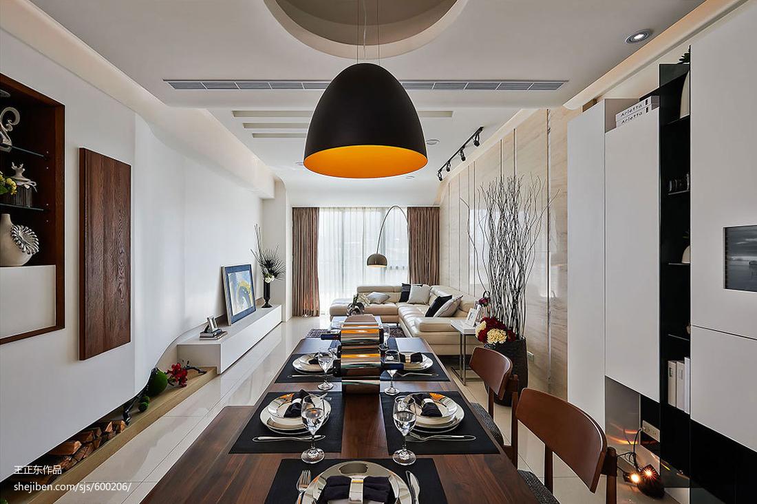 精美105平方三居餐厅现代装修实景图