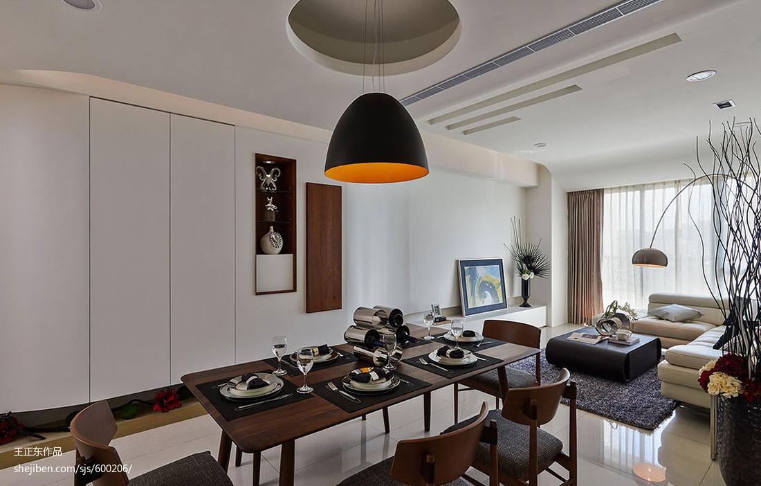 热门面积94平现代三居餐厅装修实景图片大全