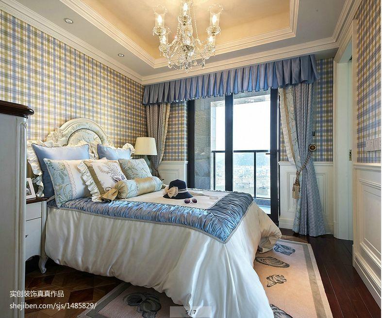 蓝色欧式儿童房装潢布置