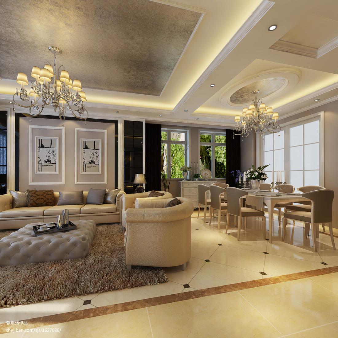 2018精选113平米欧式复式客厅装修实景图片