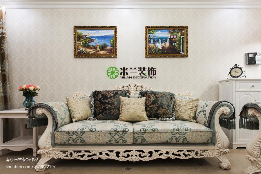 2018大小99平欧式三居客厅装修设计效果图片欣赏