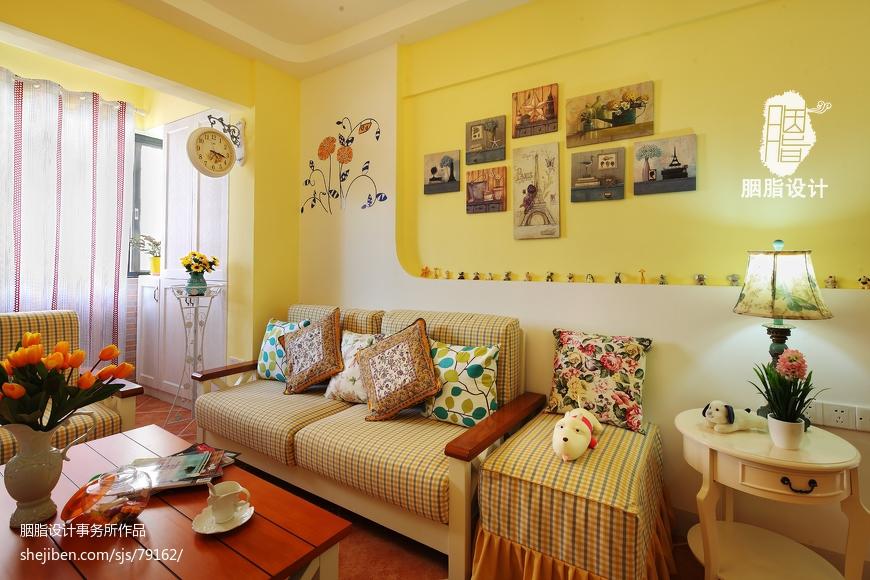 地中海混搭田园客厅沙发背景墙装修图片